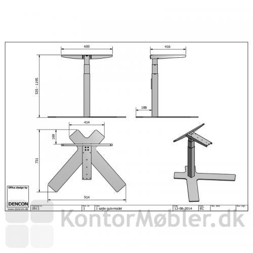 Stregtegning med mål på enkeltsøjlet hæve sænke bord fra Dencon