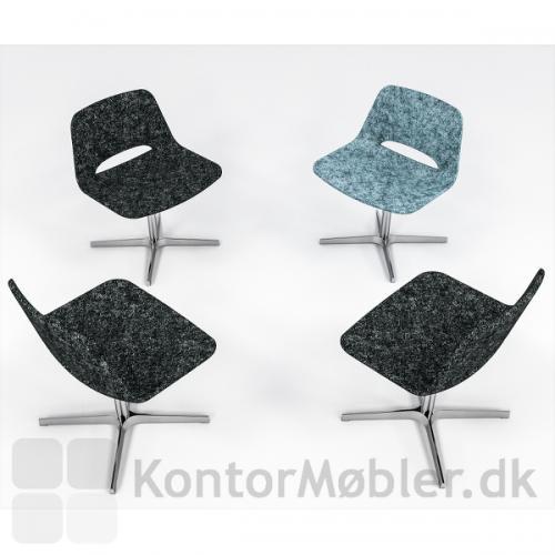 Frigg lounge stole, her er valgt en stol med blå polstring