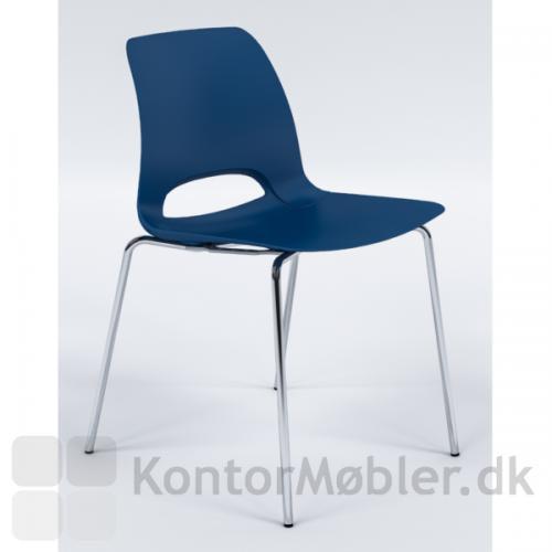 Frigg kantinestol i blå med krom stel