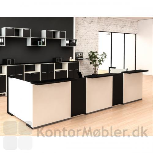 Skranke opstilling fra Dencon - grundmodul i hvid og fleksplade i sort