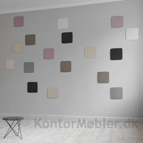 Mood Flow Wall glastavler brugt som dekoration på væg - med spændende farve kombination