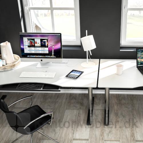 Delta hævesænkebord med hvid overflade og skuffe set
