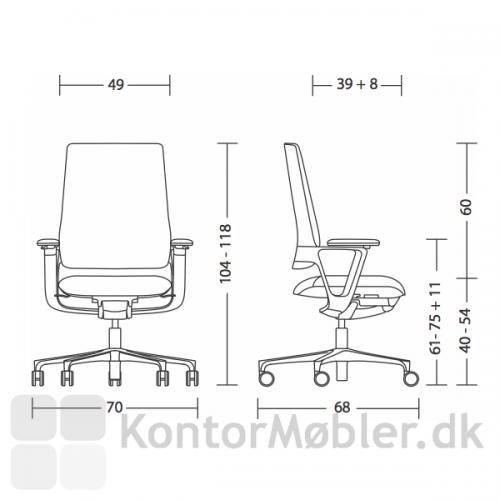 Mål på Connex2 kontorstol fra Klöber