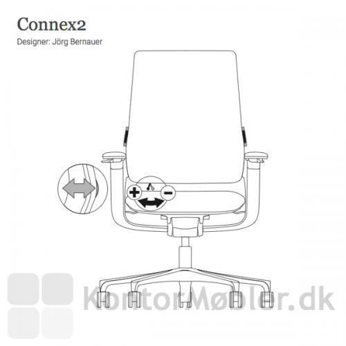 Connex2 kontorstol kan indstilles i lænden med 2 cm