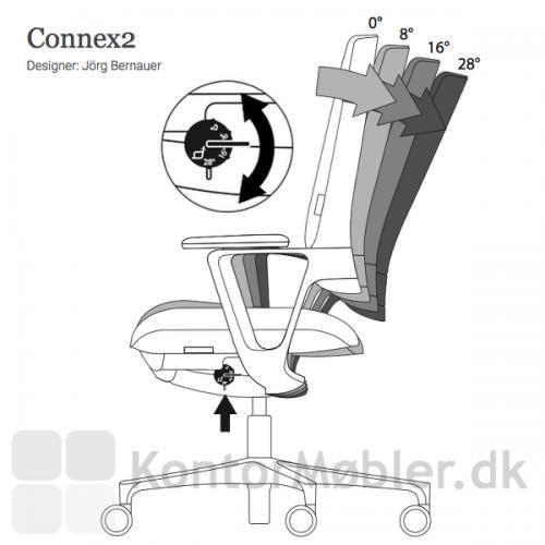 Connex2 kontorstol med synkron bevægelse, kan justeres fra låst 0° til 28° bevægelse