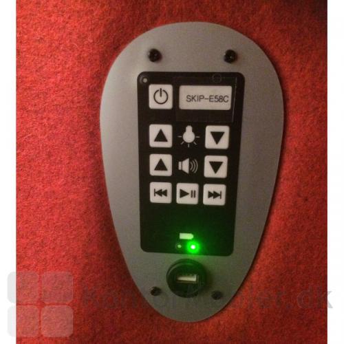 Cocoon med LED-light og sound, har betjeningspanel til tænd/sluk, regulering af lys- og lydstyrke, musik afspilning, batteri, USB og info