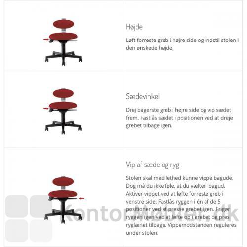 Spinella RAW - indstillinger for højde, sædevinkel og vip af sæde og ryg