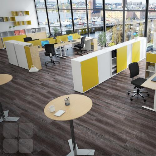 Brug det runde mødebord i kontorindretningen, her på billedet er bordpladen i finér