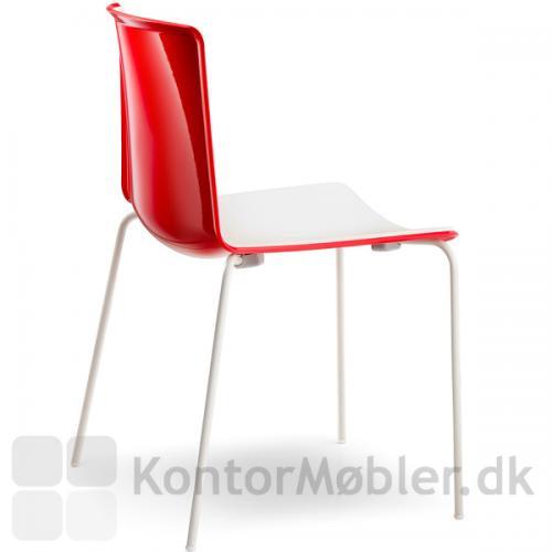 Tweet stol med rød ryg og hvid forside