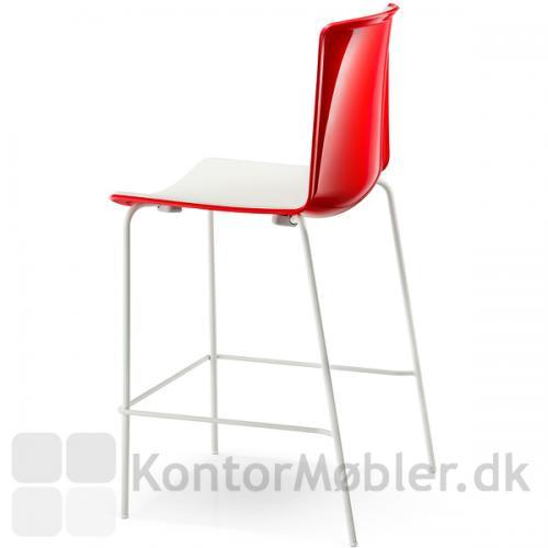 Tweet barstol med rød blank ryg