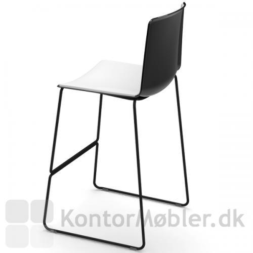Tweet barstol med sæde i sort og hvid