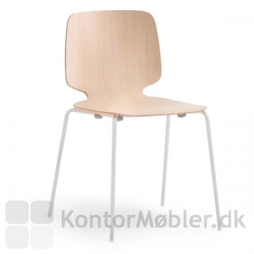 Babila 2710 stol med sæde i træ finér og hvide ben