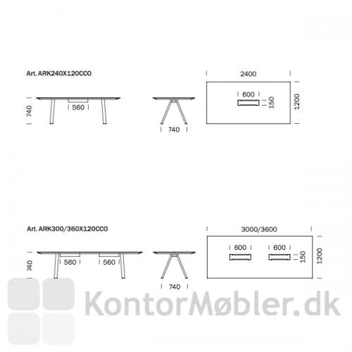 Arki mødebord med kabelbakke og kabelgennemføring