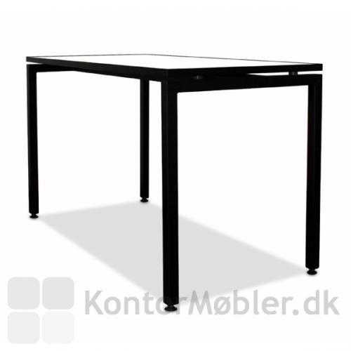 Square kantinebord med sorte ben, sort kantbånd og hvid bordplade