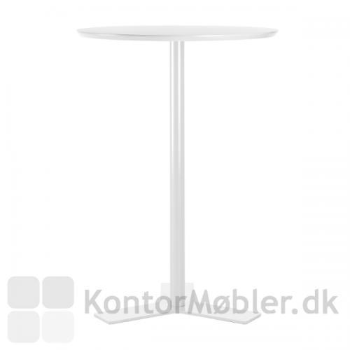 Delta mødebord med hvid bordplade og hvidt stel - højde 105 cm