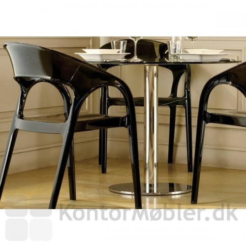 Cafébord med sort glasplade og Inox søjle