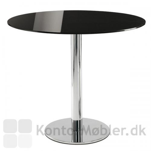 Cafébord med sort glasplade og Inox søjle i krom