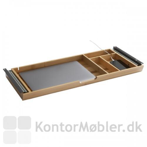 Udtræksbakke i bambus med computer og mobil