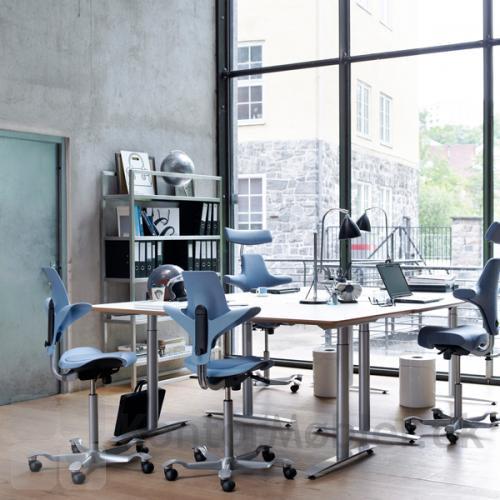 Indret bådet et super flot kontormiljø, og med  stolens flotte og ergonomiske design opfordrer den til en varieret arbejdsstilling og Capisco 8106 kan med de mange sidde indstillinger tilpasses til enhver bruger.