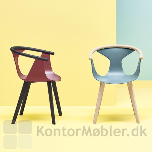 Fox stolen fra Pedrali kan vælges med ben i lys ask og sortbejdset ask