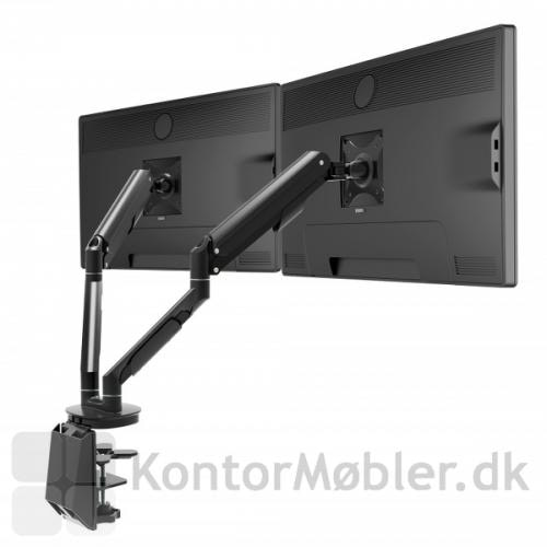 2 monitorarme i sort lakeret aluminium