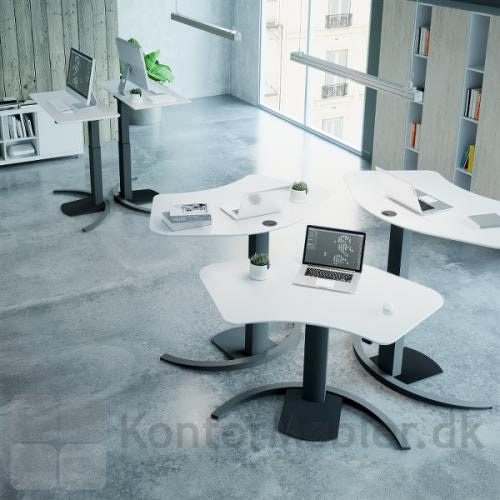 Conset 501-19 hæve sænke bord med hvid bordplade og sort stel. Vælg den bordplade der passet til indretningen