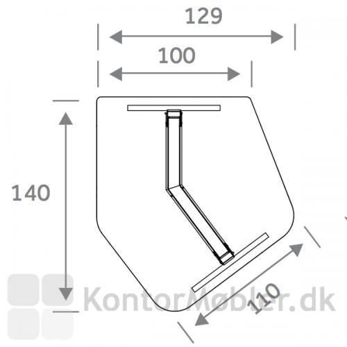 Flake Diamond bordplade med mål i cm