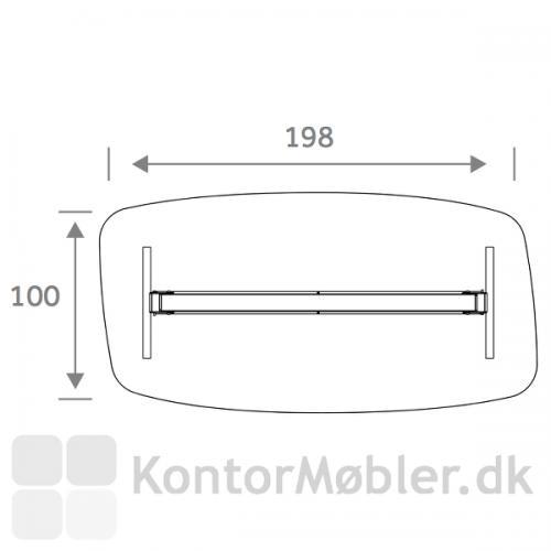 Flake Elipse bordplade med mål i cm
