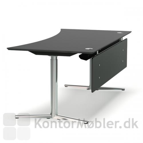 Switch hæve sænke bord med forntpanel. Bordplade og front i sort, stel i krom