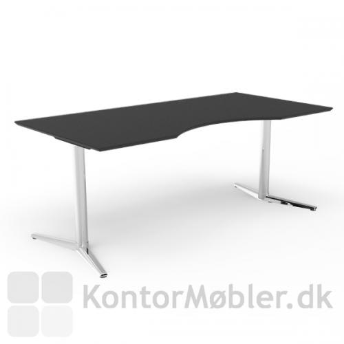 Switch hæve sænke bord med sort bordplade og krom stel