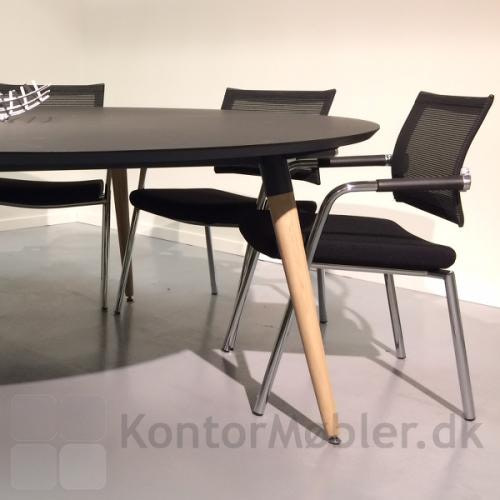 XL konferencebord med ben i ubehandlet egetræ