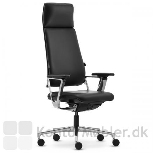 Connex2 kontorstol med læderpolstring kan nu bestilles med bred nakkestøtte og fuldpolstret ryg. CNX95 tillæg 3.900,-