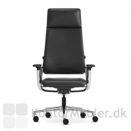 Connex2 kontorstol med læderpolstring og bred nakkestøtte CNX95 tillæg 3.900,- hvilket forlænger ryggen med 20 cm - bemærk, vælges stolen med nakkestøtte er ryggen fuldpolstret