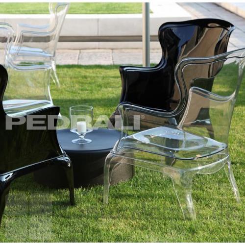 Pasha loungestol i klar transparent og sort gennemfarvet
