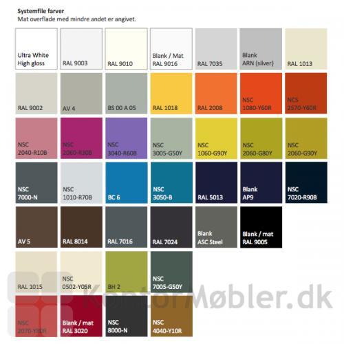 Systemfile farver - Det er muligt, at vælge mellem viste farver, mod et tillæg på prisen