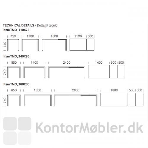 More mødebord med udtræk, kan bestilles i 3 størrelser