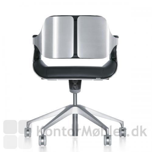 Silver 162S kontorstol med børstet aluminium ryg og stel