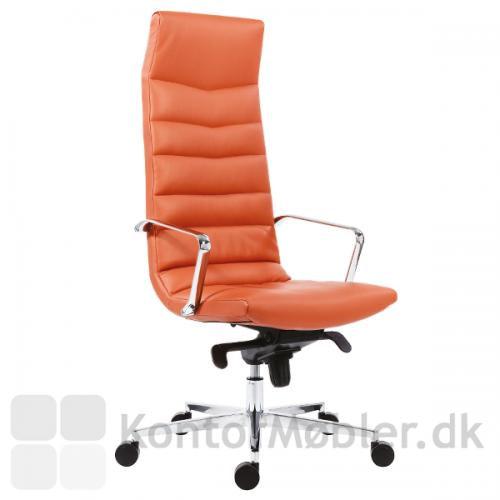 Shiny kontorstol med høj ryg i farvet læder eller kunstlæder