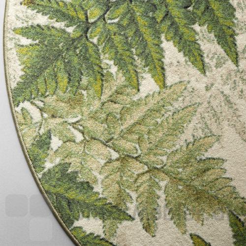 Create tæppe med mønsteret Botanic i farverne lime og beige nuancer, med lys grøn overlook kant
