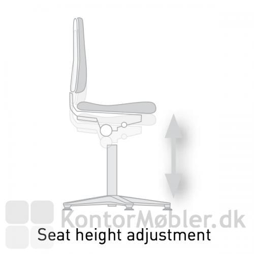Cleanroom laboratorie stol har en sæde vandring fra 49 til 63 cm