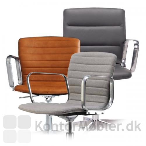 Butterfly Swirvel fuldpolstret og med kanalsyning -  Vælges stolen med høj ryg, er polstringen tykkere og der er længere mellem syningerne