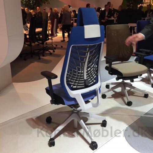 Joyce kontorstol med hvidt stel og ryg