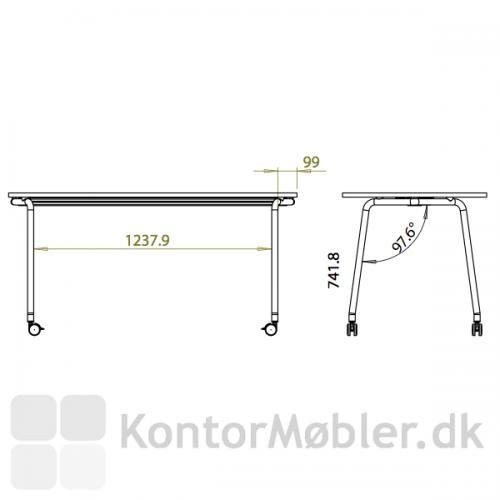 Four Fold flip top bordet har skrå ben, se mål for placering af bordben