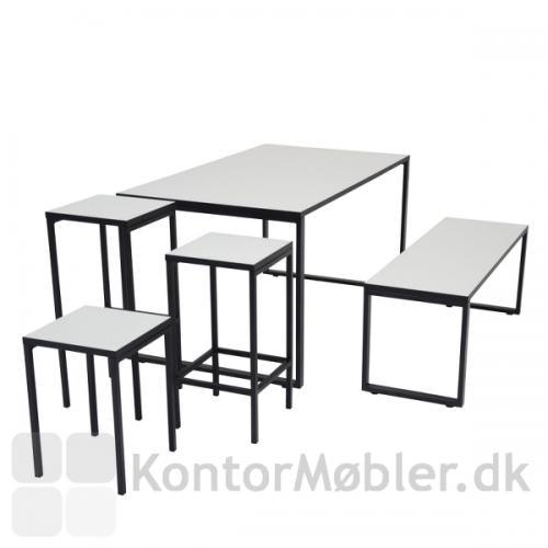 Square taburetter kombineret med O-bordet og O-bænken