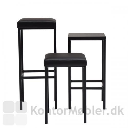 Square taburet kan vælges med sort læder polstring