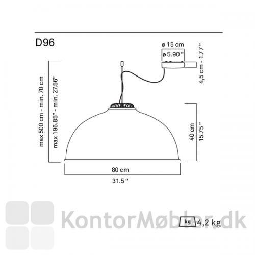 Farel lampeskærm måler Ø80 cm ved nederste kant og skærmhøjden er 40 cm