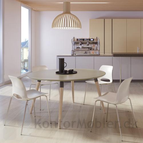 Frigg kantinestol i hvid matcher flot til XL konferencebordet med rund bordplade