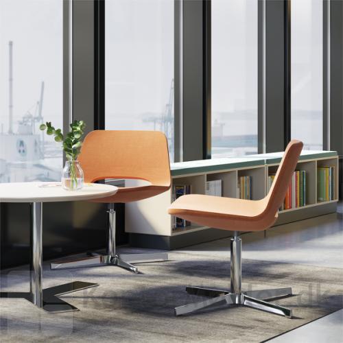 Frigg Lounge stol er fra Dencons stoleserie Frigg, som også tilbyder kantine og barstol