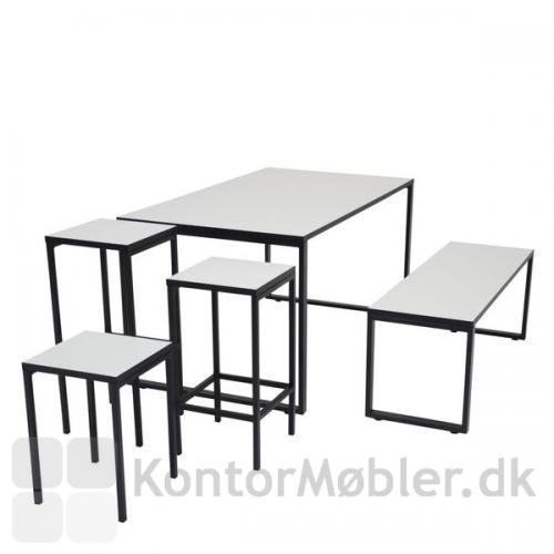 O-bord kantinebord kombineret med O-bænk og Square taburetter