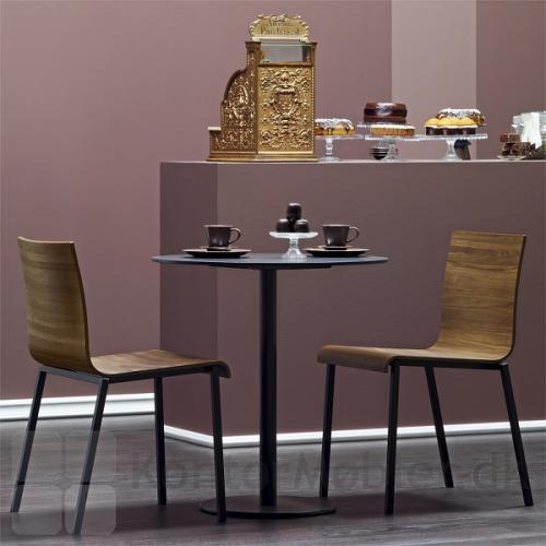 Inox cafébord i sort nanolamniat og sort stel